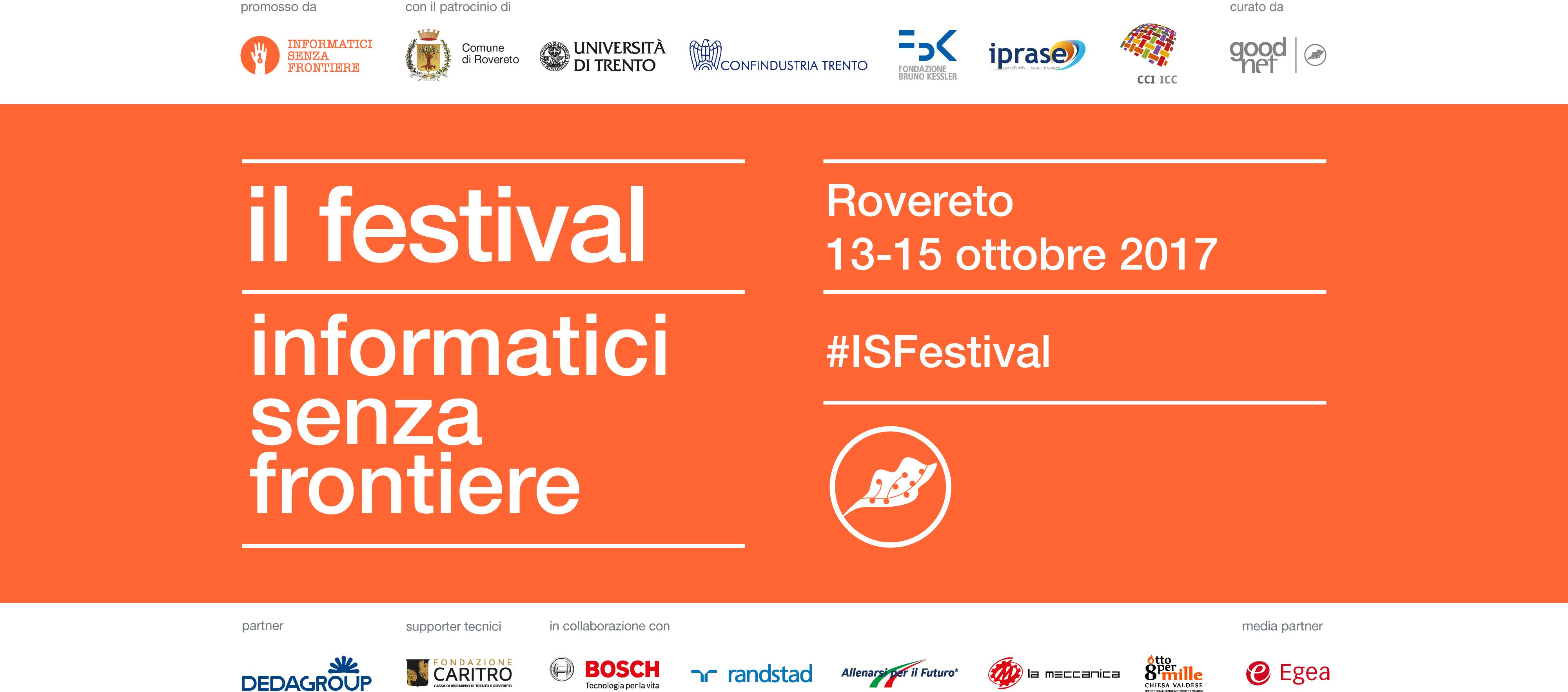Bando borse di soggiorno - Festival di Informatici Senza Frontiere (Rovereto, 13 - 15 ottobre 2017)
