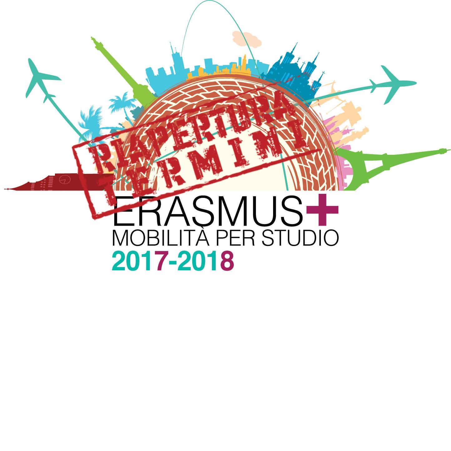 BANDO ERASMUS+ STUDIO 2017/2018 – RIAPERTURA TERMINI