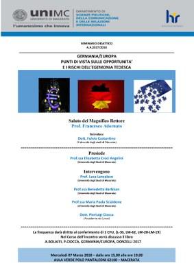 Locandina - Germania/Europa. Punti di vista sulle opportunità e i rischi dell'egemonia tedesca