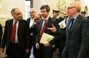 Al centro il ministro Orlando tra il rettore Luigi Lacchè (a destra) e Francesco Adornato, direttore del Dipartimento di Scienze politiche