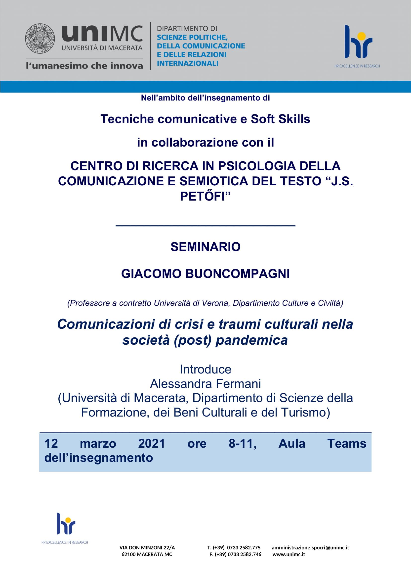 """Seminario: """"Comunicazioni di crisi e traumi culturali nella società (post) pandemica"""""""