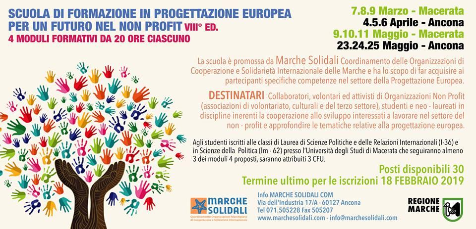 VIII ed. SCUOLA DI FORMAZIONE IN PROGETTAZIONE EUROPEA PER UN FUTURO NEL NON PROFIT