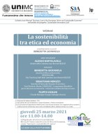 """Locandina """"La sostenibilità tra etica ed economia"""""""